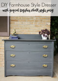 DIY Farmhouse Style Dresser in Charcoal Gray