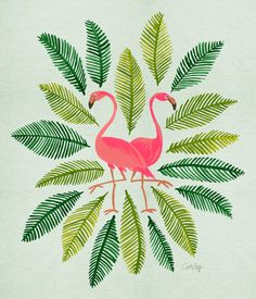 Pink Flamingos Illustration Print