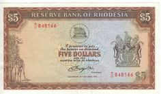 Rhodesia 1978 5 dollar banknote - AU+ with creases