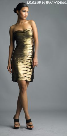 Layered perfection in our satin tiered cocktail dress, featured here in gold, style #D0713 <3 www.issuenewyork.com