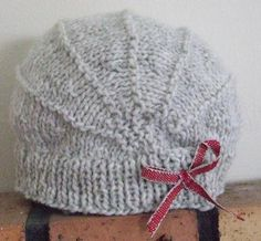 Grey Knit Hat with Maroon Ribbon Bow