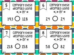Comparing Decimals Differentiated Task Cards