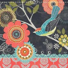 Chalk Bird Red Flower by Jennifer Brinley | Ruth Levison Design