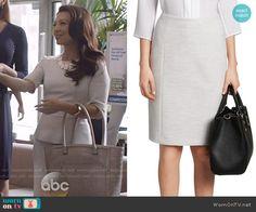 Melinda's light grey skirt on Agents of SHIELD. Outfit Details: http://wornontv.net/53601/ #AgentsofSHIELD