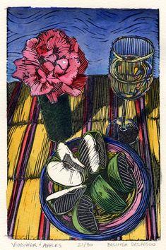 Original Framed Color Linocut Still Life with Apples Wine and Roses Belinda Del Pesco Linocut Prints, Art Prints, Block Prints, Woodcut Art, Still Life With Apples, Winsor And Newton Watercolor, Linoleum Block Printing, Art Graphique, Wood Engraving
