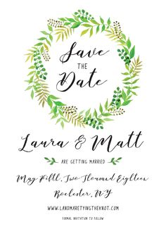Simple, Greenery Wreath Wedding Save the Date! View the rest of the suite at catprint.com | CatPrint Design #1112