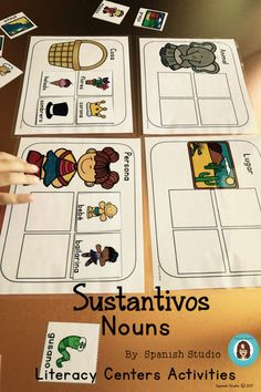 Centers and Independent Activities to learn all about nouns in Spanish. Singular And Plural Nouns, Nouns And Adjectives, Spanish Lesson Plans, Spanish Lessons, Spanish Class, Bilingual Classroom, Bilingual Education, Nouns Kindergarten, Concrete And Abstract Nouns