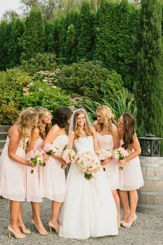 light pink bridesmaid dresses from Moms, Maids and More