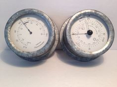 Lot of 2 Steel Round Wall Mount Weather Barometer Reader and Thermometer