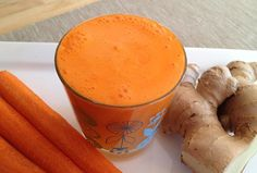 Splash of Sun Juice  INGREDIENTS===============  3 large carrots 2 oranges 1 large slice ginger root  DIRECTIONS================ 1- soak/rinse carrots 2 - peel oranges 3 - juice everything 4 - shake/stir well, and enjoy!  TIP======================= ginger can be quite powerful, use sparingly