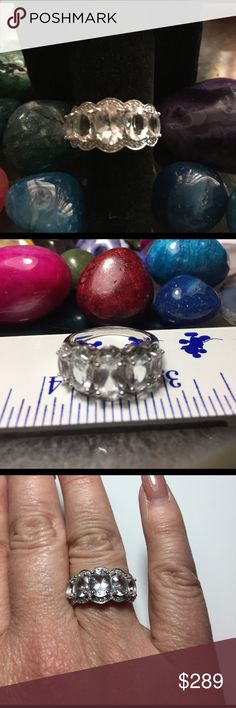 FINAL PRICE💎Brazilian Goshenite & White Zircon💎 ✨💎5 STELLAR CUT GEMSTONES💎✨💎✨💎This piece is truly stunning. 2.72CTW  5 Stone Brazilian Goshenite with  .19CTW of Round White Zircon Gemstones  set in 925 Sterling Silver. 💎. The Blue Hue that radiates from within these Gemstones is remarkable.  From the Very Prestigious Beryl Family that includes Bixbite, Heliodor, Morganite, Aquamarine and Emeralds. 💎Truly Brilliant. 💎 SIMILAR SHADES OF AN  UNTREATED AQUAMARINE 💎 RARE EXOTIC GEMSTONE…