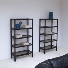 Black lacquered Bamboo Bookcase