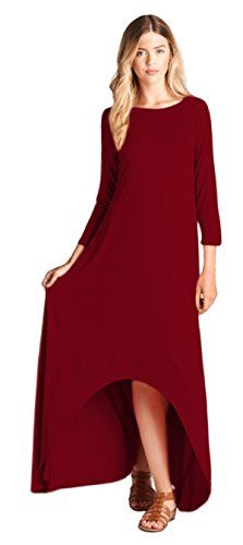 Tabeez Womens Solid Loose 34 Sleeve High Low Jersey Maxi Dress Small Burgundy -- Find out more about the great product at the image link.  This link participates in Amazon Service LLC Associates Program, a program designed to let participant earn advertising fees by advertising and linking to Amazon.com.
