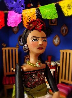 "Art Doll~ Frida Kahlo ""Frida"", mixed media art doll~Image Mixed media Art Doll~ Image © Christine Alvarado, 2009 Here is the latest Frida Art Doll~she is a bit larger than most of my dolls and includes elements of my previous. Frida Kahlo Diego Rivera, Frida And Diego, Image Mix, Frida Art, Photo Coasters, Mexican Artists, Doll Shop, Portraits, Fascinator"