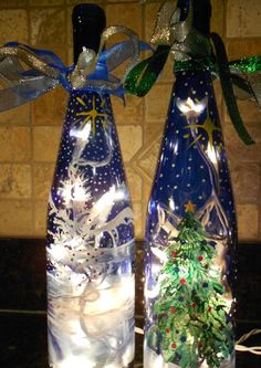 Hand Painted Wine Bottle by SusansfineArt on Etsy, $25.00