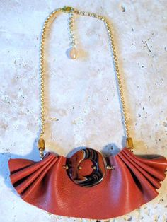 Ruffled Tan Leather Bib Necklace on Gold Chain. $28.00, via Etsy. #leatherjewelry