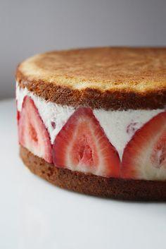 Ice cream-cake, strawberry sandwich