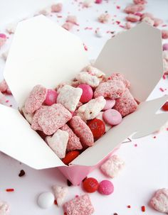 Valentine's Day Strawberries and Cream Puppy Chow – would be fun for kiddos or a school party, etc.