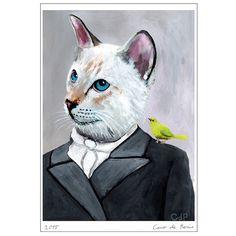 cat with bird, Cat Print, cat art, cat poster, kitty print, kitty poster, cat artwork, cat fine art, surrealist cat, funny cat, cat painting, batman cat