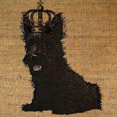Scottish Terrier Scottie Dog Crown Adorable Digital Image Download Transfer To Pillows Tote Bags Tea Towels Burlap No. 1437