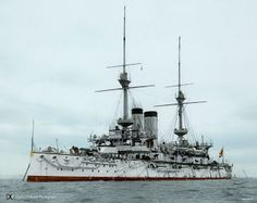 Mikasa Battleship. Mikasa's design closely followed the British Majestic class but with improved guns and mountings analogous to the British advances at the time (London class). In keeping with the latest British practice, the funnels were placed along the centerline instead of side-by-side as in the original Majestics; but the Japanese specified two cylindrical funnels of equal size, unlike the Royal Navy originals which had a much smaller forward funnel.