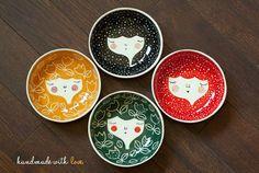 Ceramic bowls set for 4 - Ceramic face bowls - ceramic tableware - serving bowls in Indigo, Red, Honey and Black colour - MADE TO ORDER