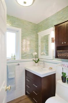 Photographic Gallery Street Bath contemporary powder room los angeles GEORGE Interior Design x Vihara glass tiles in color Wabi from Sonoma Tilemakers