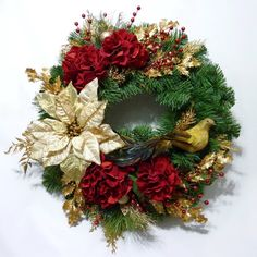 Red Hydrangea Christmas Wreath Front Door Wreath by Floralwoods, $65.00