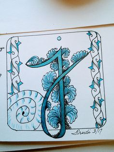 """Joey's Challenge #155 Letter """"j"""" using Tangles Jelly Roll, Jewellep and Joki with coloured pencils and pen."""