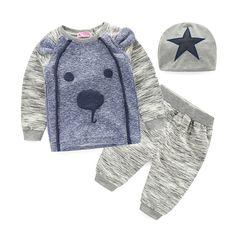Bayi pakaian 2015 Merek musim panas anak-anak pakaian set t-shirt + celana + topi setelan pakaian set Star Dicetak pakaian baru lahir pakaian olahraga
