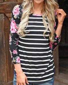 Black and white striped t shirt for women raglan sleeve t shirts