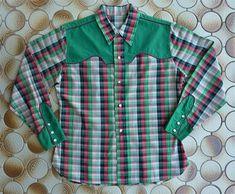 Awesome Home sewn McCall's pattern Vintage Men's Western Shirt. Multi-colour Madras Plaid w/ green yokes & cuffs. Vintage Western Wear, Vintage Cowgirl, Vintage Men, Home Sew, Cowgirl Outfits, Mccalls Patterns, Western Shirts, Vintage Shirts, 1950s