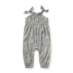 Baby Girl Villa Borghese Shoulder-Tie Romper| Tea Collection