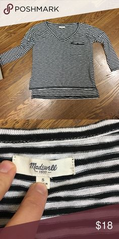 Madewell black and white striped top Loose fit. It is a shorter style that is loose and comfortable. Front pocket on left side. SO cute and comfy! Madewell Tops