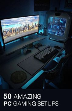 Awesome Video Game Room Ideas for Small Rooms Video game room ideas for game lovers, diy funny setup gaming desk boys organization Gaming Desk Setup, Computer Gaming Room, Best Gaming Setup, Gamer Setup, Cool Gaming Setups, Best Pc Setup, Gaming Pcs, Bedroom Setup, Video Game Rooms