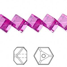 Bead, Swarovski crystal, fuchsia, 8mm faceted dice (5600). Sold per pkg of 12.