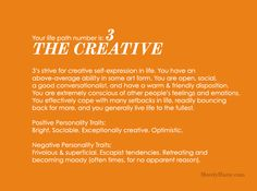 Life Path number 3- the creative.