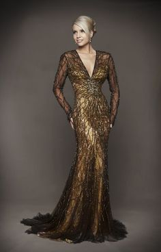 Bronze Beaded Floral Lace Long Sleeve Open Back Couture Dress - Unique ...
