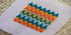 Day 49: Wishbone Bargello Challenge Design - Found on page 110 in Bargello: An Explosion In Color by Margaret Boyles