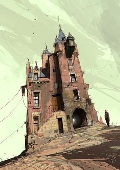 rhubarbes: 'Old Tolbooth Wynd' by Ian Mcque. (via Ian Mcque) Environment Concept Art, Environment Design, Fantasy World, Fantasy Art, Illustrations, Illustration Art, Concept Art Landscape, Wow Art, Urban Sketching