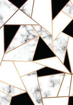 Wallpaper abstract geometric marbe; golden and marble; black and white;