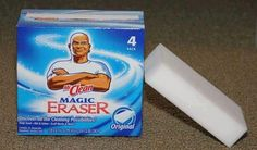 Uses for Magic Erasers that you don't know about! Awesome!!!  What Mr. Clean Magic Erasers Can Do:  remove dried paint from door hinges remove tarnish from silver remove mold & mildew from anything plastic clean & polish gold jewelry remove soap scum in the tub and shower remove marks on walls clean splatters inside the microwave remove marks on vinyl siding clean mirrors in the bathroom (keeps shower mirrors from fogging) remove adhesive residue after removing stickers remove waterline mark...