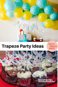 Party Packages Favor Tags Vintage Circus Dumbo Elephant Blue /& Red Stripe Birthday Cupcake Toppers Door Signs Available Banners 12