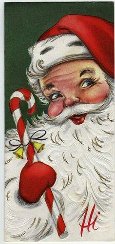I love retro Christmas art Father Christmas, Christmas In July, Retro Christmas, Vintage Christmas Cards, Vintage Holiday, Vintage Cards, Winter Christmas, Christmas Crafts, Christmas Mantles