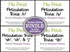 "FOUR No Print Articulation Trivia materials bundled for a low price! 492 stimulus items for /r/, /s/, ""th"", ""sh"", ""ch"", and ""j"" included!"