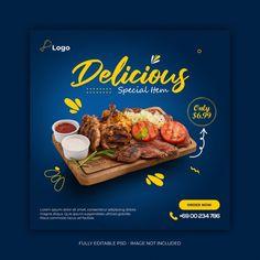 Food Graphic Design, Food Poster Design, Menu Design, Food Design, Barbecue Restaurant, Restaurant Recipes, Social Media Banner, Social Media Design, Restaurant Poster