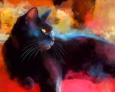 Fine Art for Cat Lovers. Portraits, paintings and limited edition prints of cats from Denise Laurent, a UK based, London artist and member of the Society Of Feline Artists. Black Cat Painting, Black Cat Art, Black Cats, Cat Drawing, Animal Paintings, Abstract Paintings, Crazy Cats, Online Art Gallery, Pet Portraits