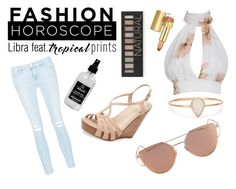 """""""Libra- FASHION HOROSCOPE SUMMER 2016"""" by meiryn ❤ liked on Polyvore featuring Frame Denim, Seychelles, Forever 21, Little Barn Apothecary, Catbird, Estée Lauder, tropicalprints and hottropics"""