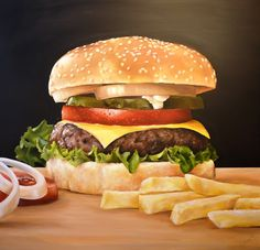 View CAROL CAHILL's Favorite Art on Saatchi Art. Find art for sale at great prices from artists including Paintings, Photography, Sculpture, and Prints by Top Emerging Artists like CAROL CAHILL. Hyperrealism, Art Oil, Art For Sale, Hamburger, Saatchi Art, Beef, Chicken, Ethnic Recipes, Food