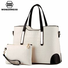 YINGPEI Women Bag Vintage Messenger Bags Shoulder Handbag Women Top-Handle Crocodile  Pattern Composite Bag Purse Wallet Leather - Trends E-Shop 3719b5af34